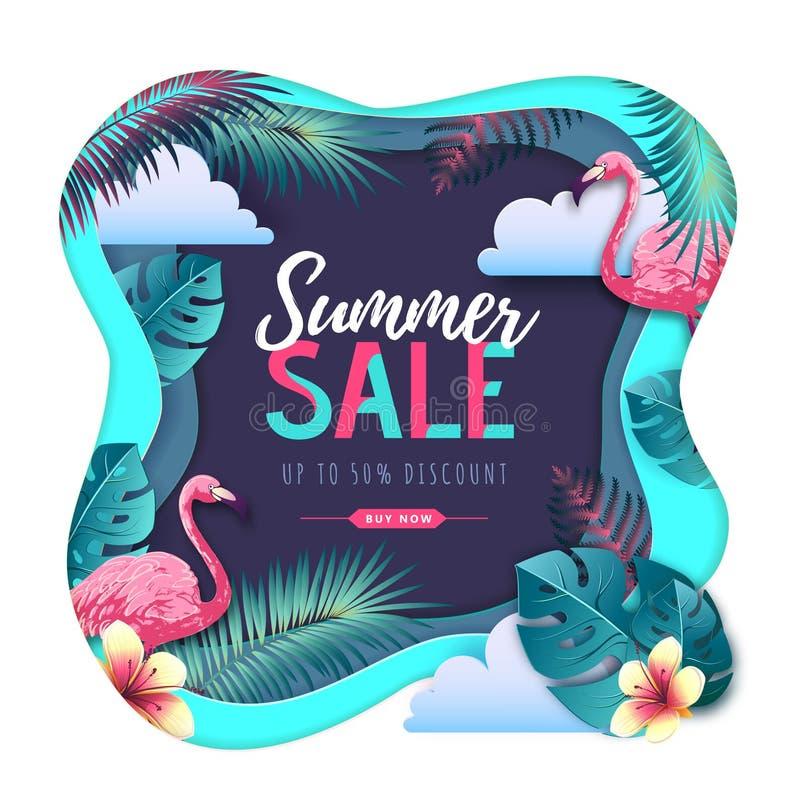 Cartel grande de la tipografía de la venta del verano con las hojas del flamenco y del trópico Concepto de la naturaleza Dise?o c ilustración del vector