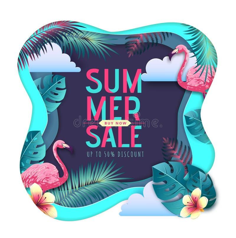 Cartel grande de la tipografía de la venta del verano con las hojas del flamenco y del trópico Concepto de la naturaleza Dise?o c libre illustration