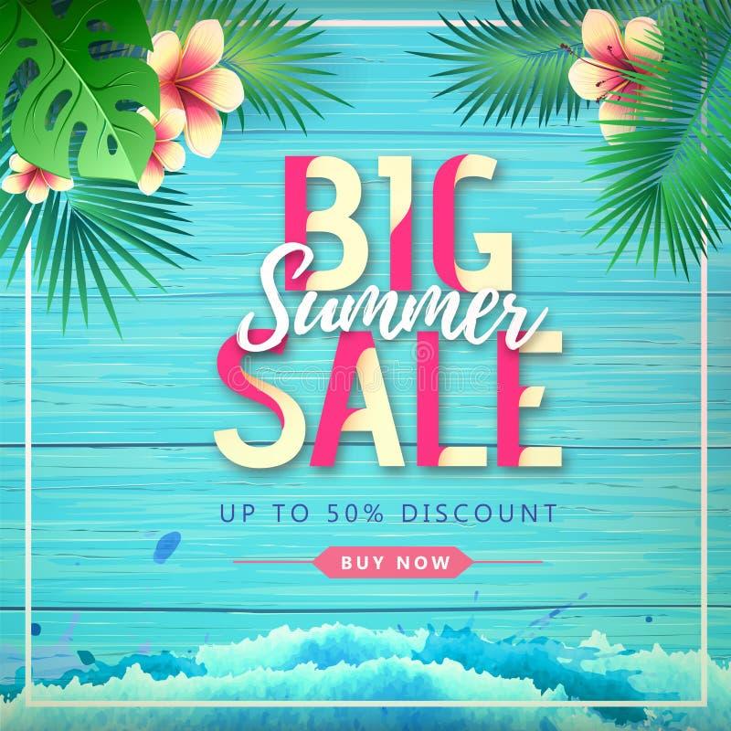 Cartel grande de la venta del verano de la tipografía en fondo de madera del grunge con las hojas tropicales libre illustration