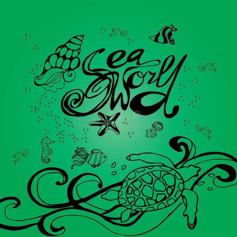 Cartel Handdrawn con las letras ejemplo del mundo del mar stock de ilustración
