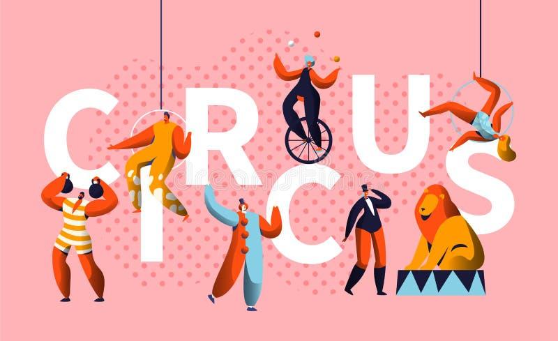 Cartel horizontal de la tipografía del carácter de la demostración del carnaval del circo Juglar Entertainment del mago y del Uni ilustración del vector