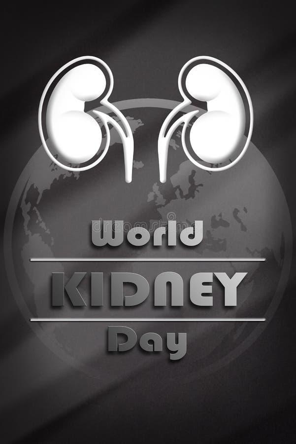 Cartel informativo de la composición de la vertical del día del riñón del mundo ilustración del vector