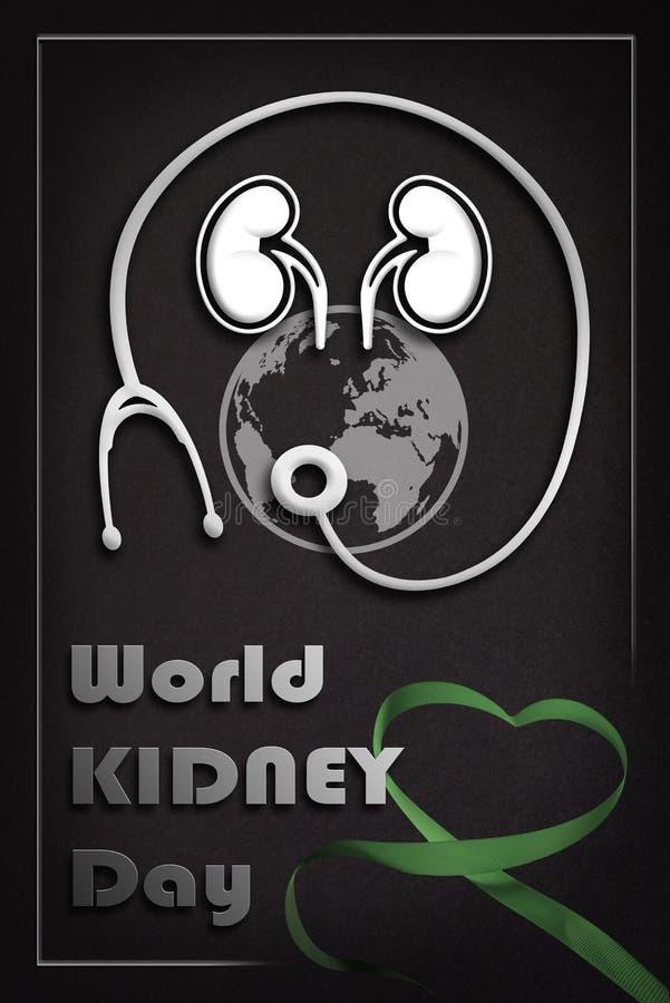 Cartel informativo del día del riñón del mundo con la cinta stock de ilustración