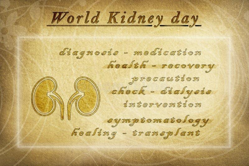 Cartel informativo del vintage del día del riñón del mundo libre illustration