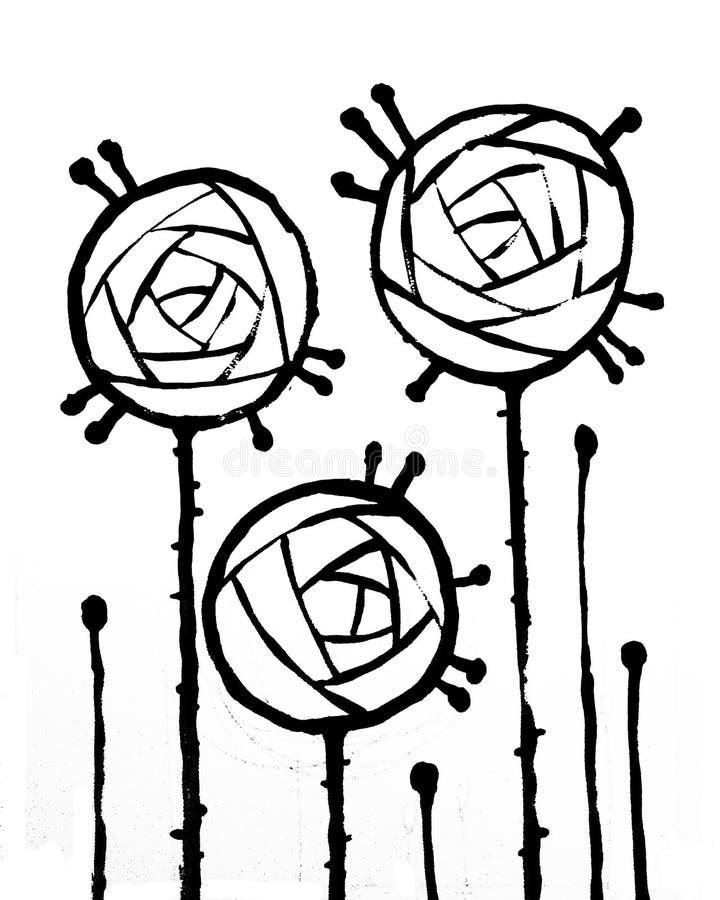 Cartel interior abstracto de moda con tres rosas ilustración del vector