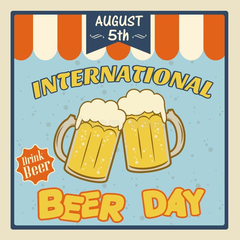 Cartel internacional del día de la cerveza ilustración del vector