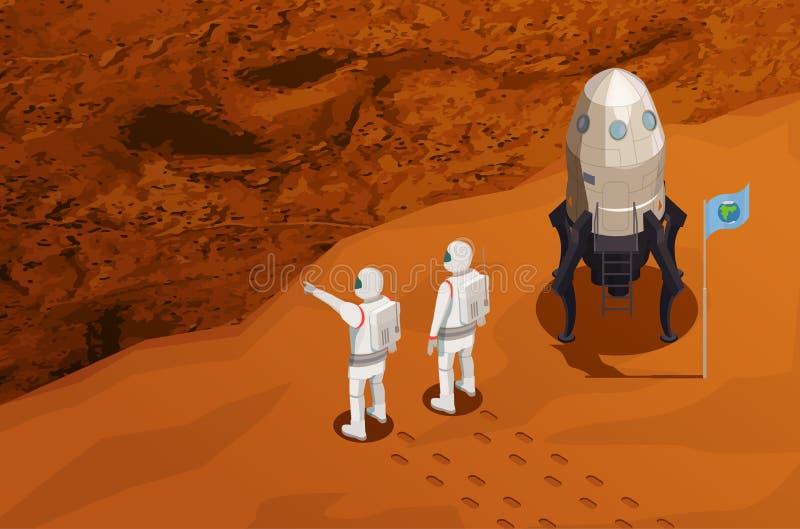 Cartel isométrico de la colonización de Marte ilustración del vector