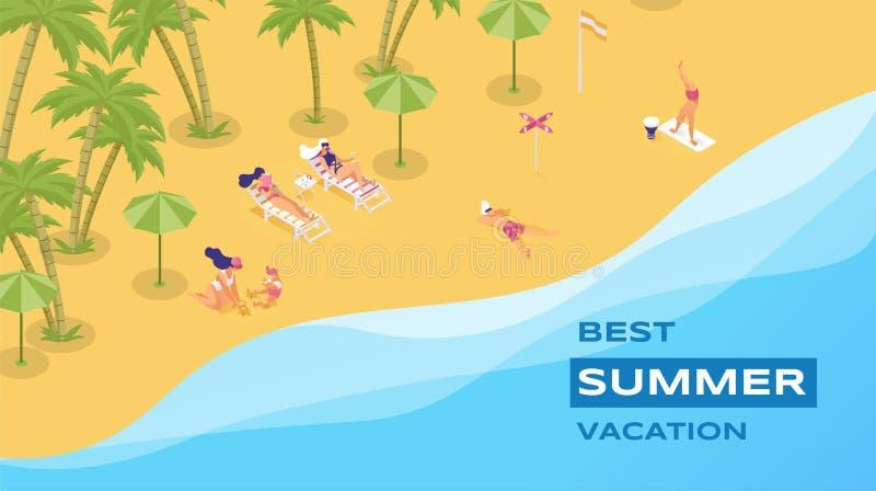 Cartel isométrico del vector del mejor centro vacacional Pasar vacaciones de verano en concepto de la costa 3d de la isla turismo ilustración del vector