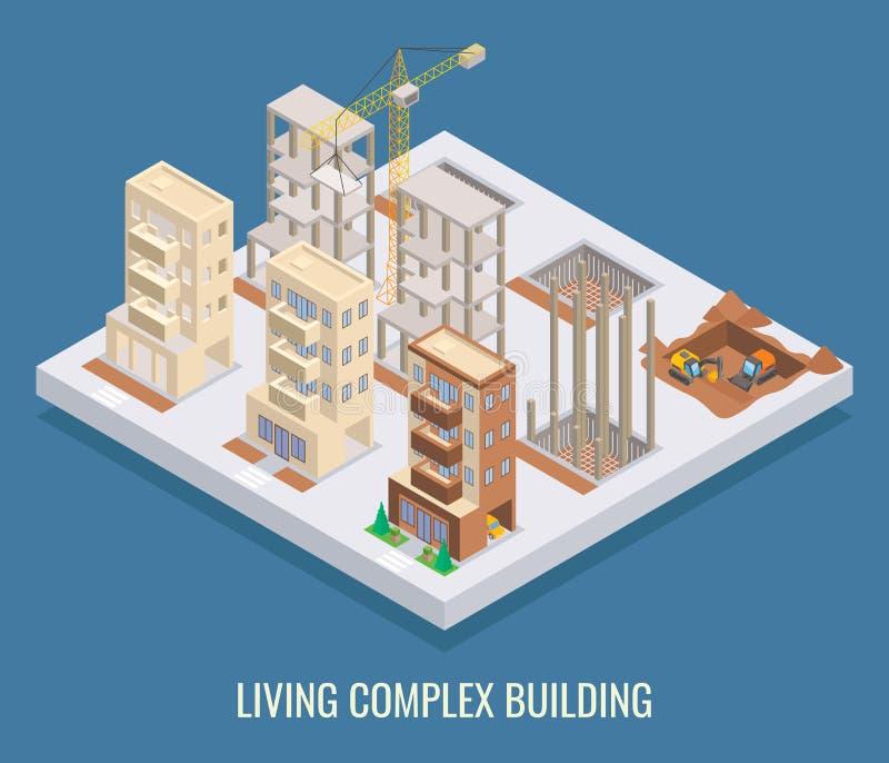 Cartel isométrico plano del vector complejo vivo del edificio, bandera stock de ilustración
