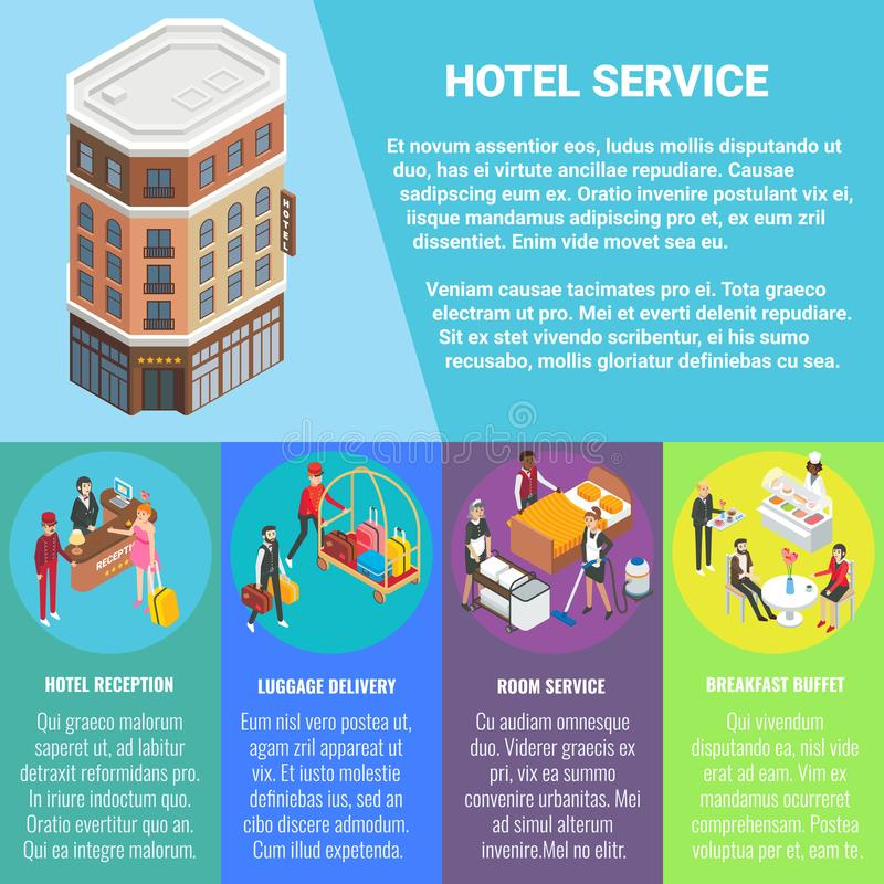 Cartel isométrico plano del vector del concepto del servicio de hotel, bandera stock de ilustración