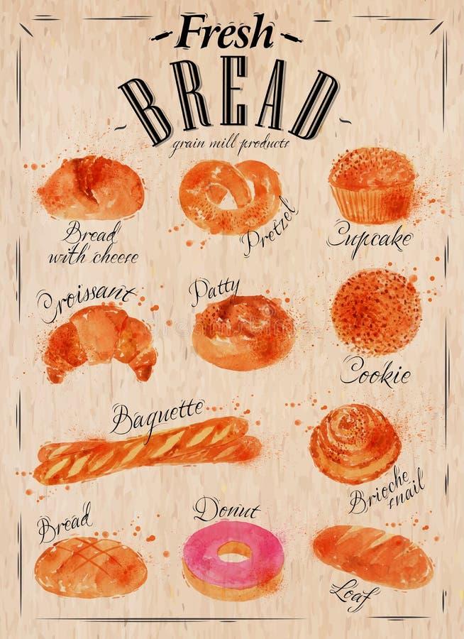Cartel Kraft de los productos del pan ilustración del vector