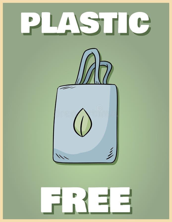 Cartel libre plástico Traiga su propio bolso Frase de motivaci?n Producto ecol?gico y de la cero-basura Va la vida verde foto de archivo