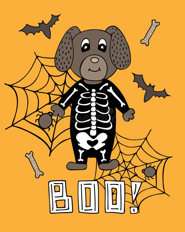 Cartel lindo con letras para Halloween Perro en un traje esquelético libre illustration