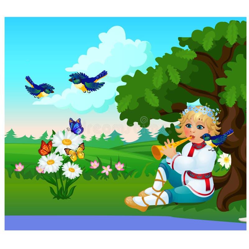 Cartel lindo con un muchacho en un traje ruso tradicional que toca la flauta en un claro del bosque Primer de la historieta del v ilustración del vector
