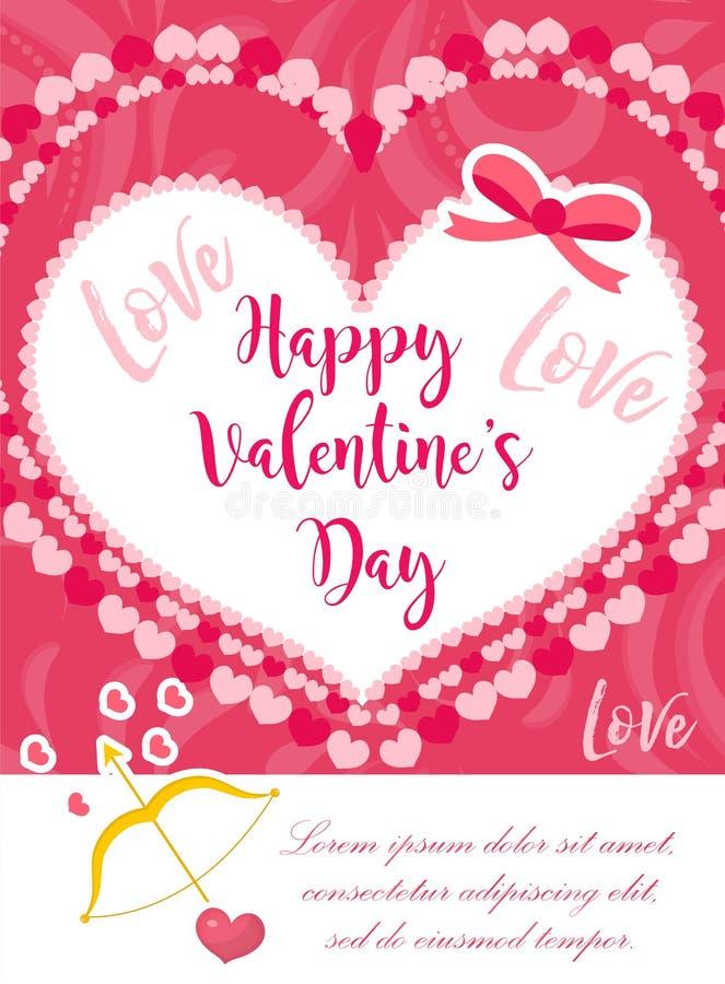 Cartel lindo de la tarjeta del día de San Valentín del día feliz del ` s, invitación, tarjeta de felicitación Plantilla del día d stock de ilustración