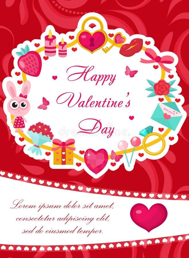 Cartel lindo de la tarjeta del día de San Valentín del día feliz del ` s, invitación, tarjeta de felicitación Plantilla del día d libre illustration