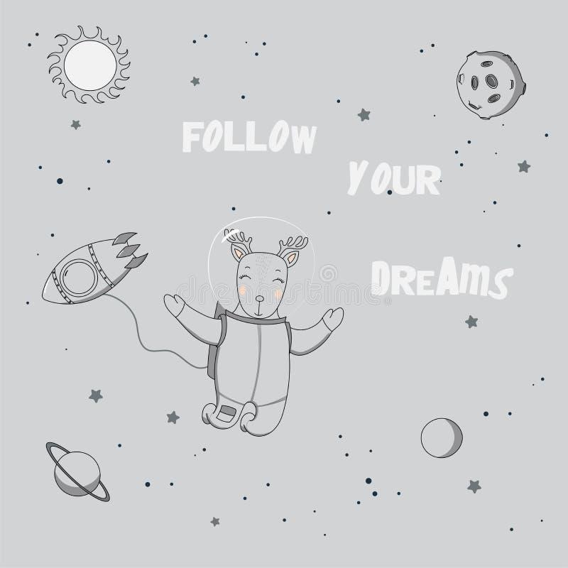 Cartel lindo del astronauta stock de ilustración