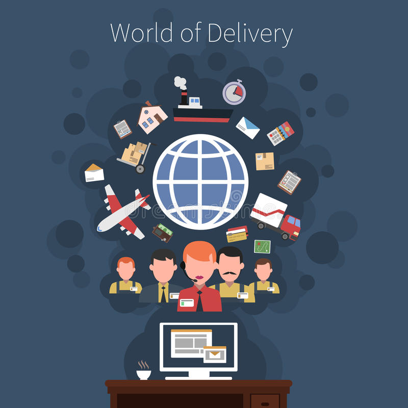Cartel logístico del concepto del transporte stock de ilustración