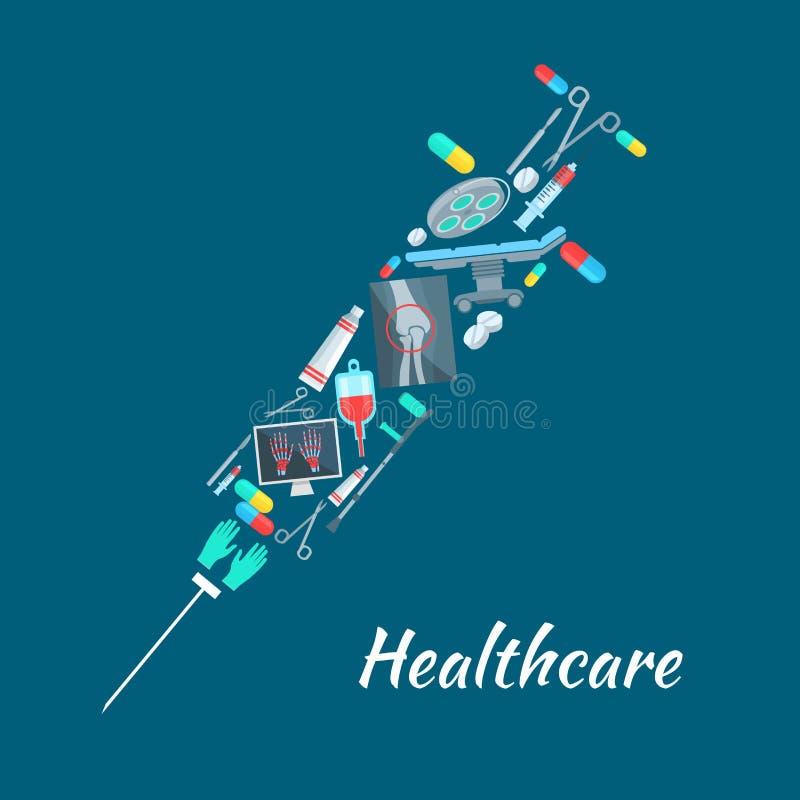Cartel médico de la cirugía de la atención sanitaria, símbolo de la jeringuilla libre illustration