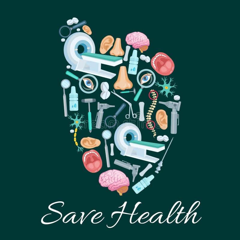 Cartel médico de la salud del símbolo del corazón del vector stock de ilustración