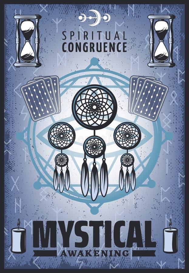 Cartel místico coloreado vintage ilustración del vector