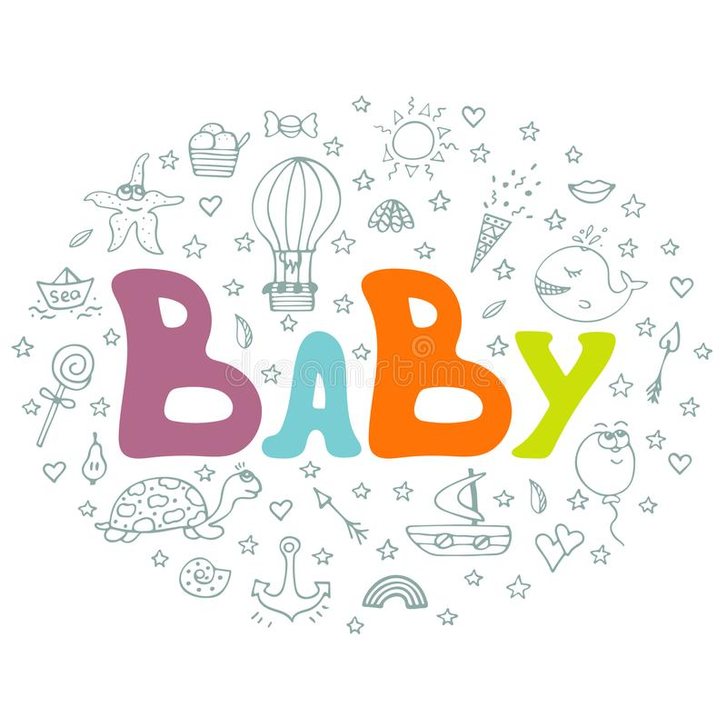 Cartel a mano lindo con los garabatos y las letras - bebé libre illustration