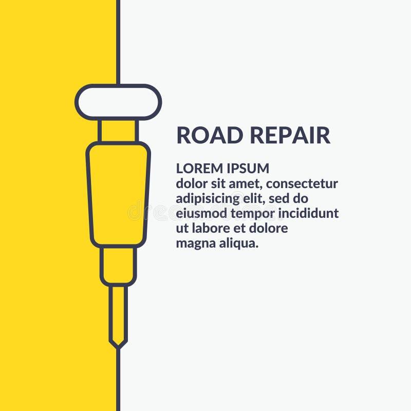 Cartel minimalistic linear en el estilo plano, reparación del camino stock de ilustración