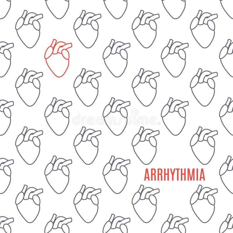 Cartel modelado icono del corazón de la arritmia en el fondo blanco stock de ilustración