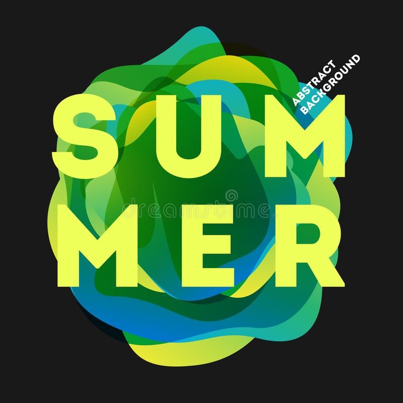 Cartel moderno colorido del verano Ejemplo creativo de la pendiente del chapoteo stock de ilustración