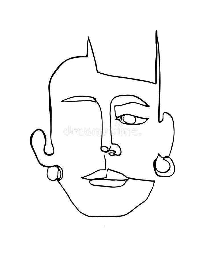 Cartel moderno con la cara abstracta linear de la mujer con los pendientes Gr?fico minimalista ilustración del vector