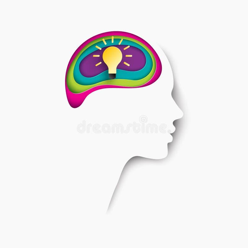 Cartel moderno con perfil cortado acodado del ser humano del papel coloreado ilustración del vector