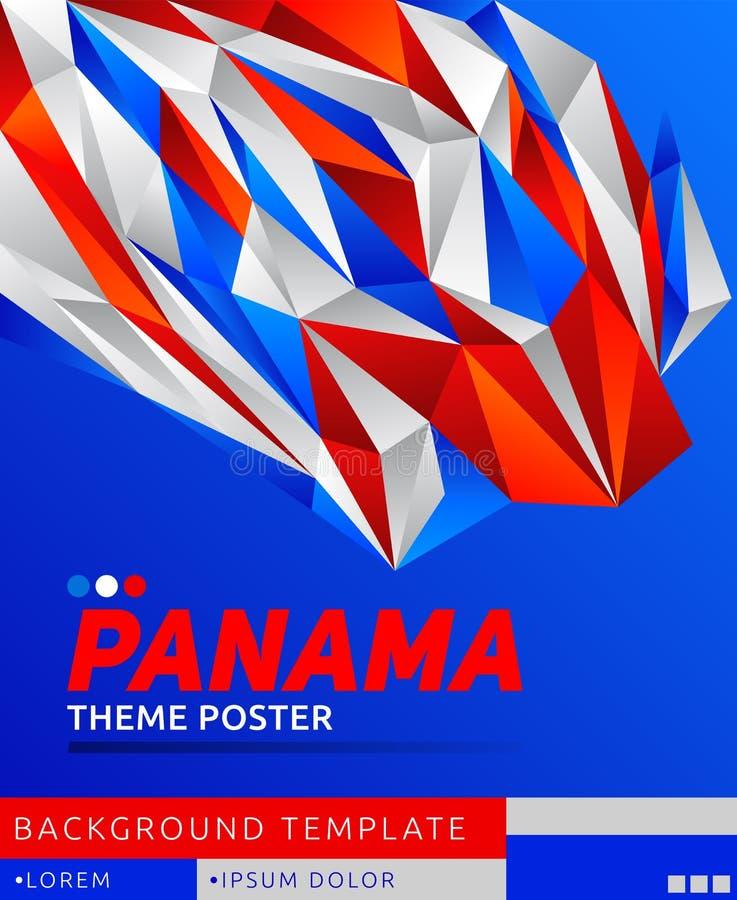 Cartel moderno del tema de Panamá, ejemplo de la plantilla del vector, colores panameños de la bandera libre illustration