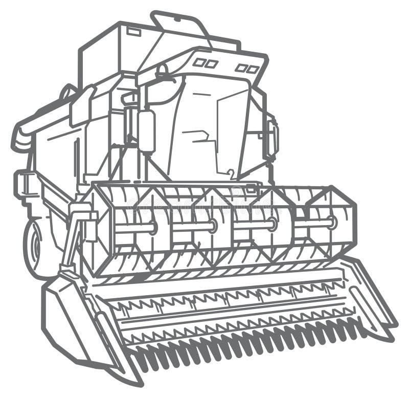 Cartel-moissonneuse d'ensemble de vecteur illustration stock