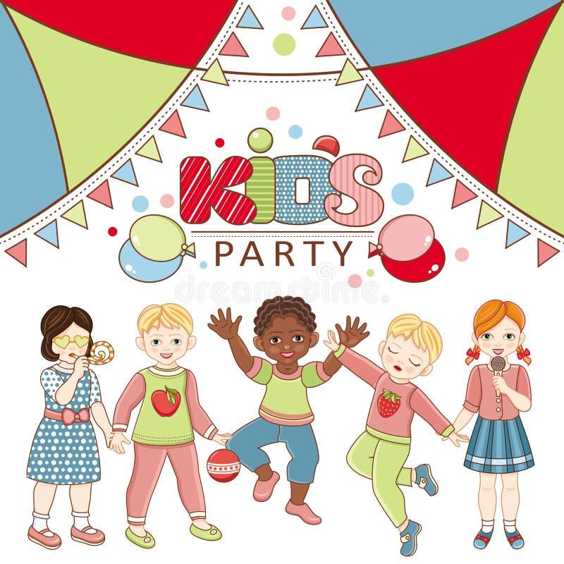 Cartel multinacional plano del partido de los niños del vector libre illustration