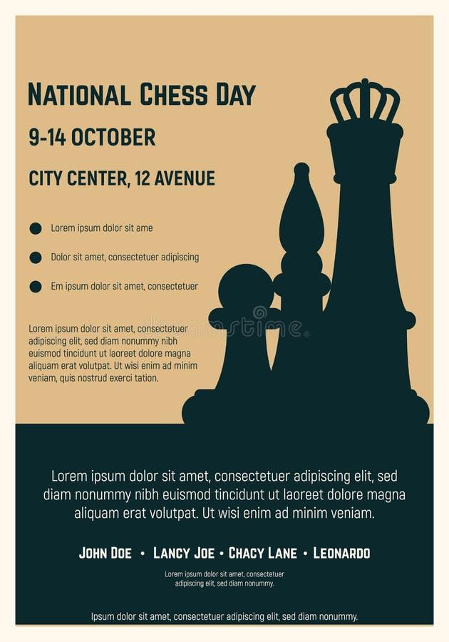 Cartel nacional del día del ajedrez ilustración del vector
