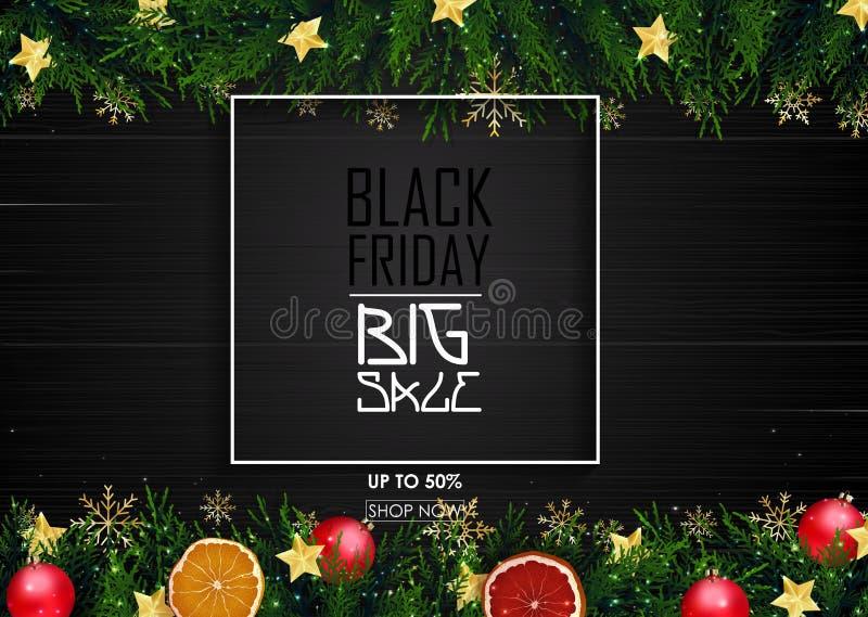Cartel negro de la venta de viernes con la decoración de la Navidad en fondo de madera libre illustration