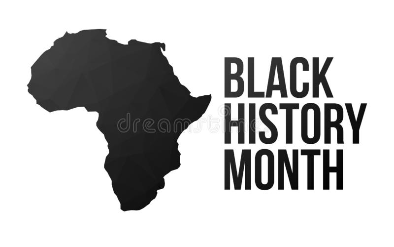 Cartel negro del mes de la historia stock de ilustración