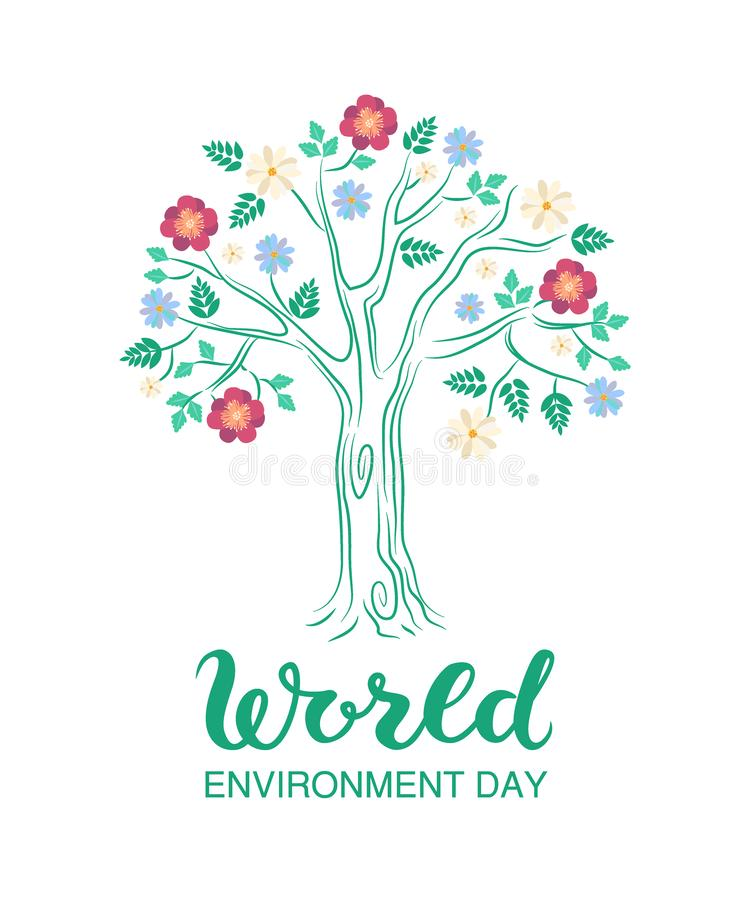 Cartel o bandera creativo del día del ambiente mundial con el árbol floreciente en fondo libre illustration