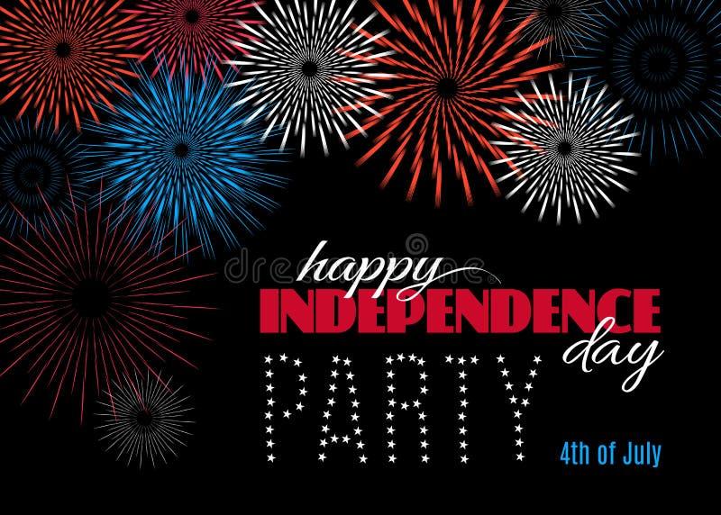 Cartel o bandera feliz del partido del Día de la Independencia ilustración del vector