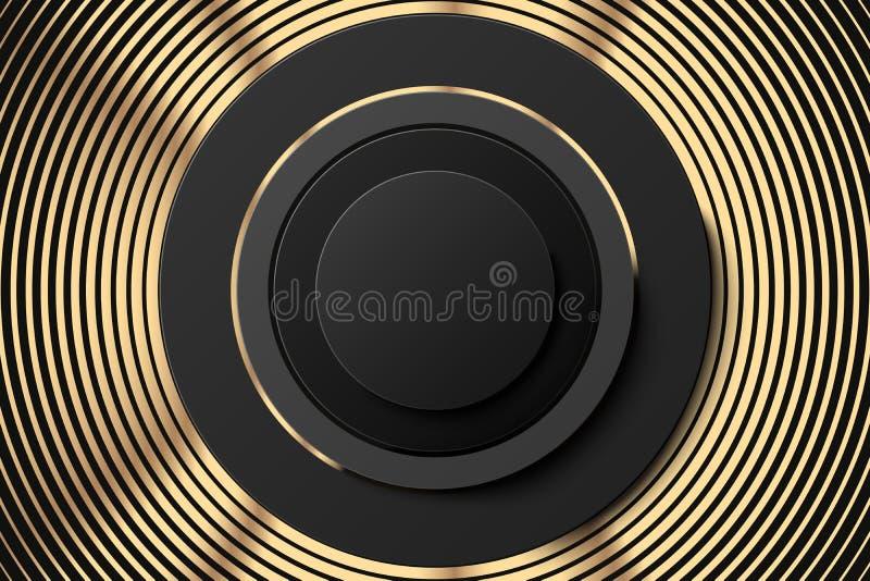 Cartel o bandera negro de oro abstracto Anillos de oro y bandera negra del botón Fondo abstracto del oro con caminado libre illustration