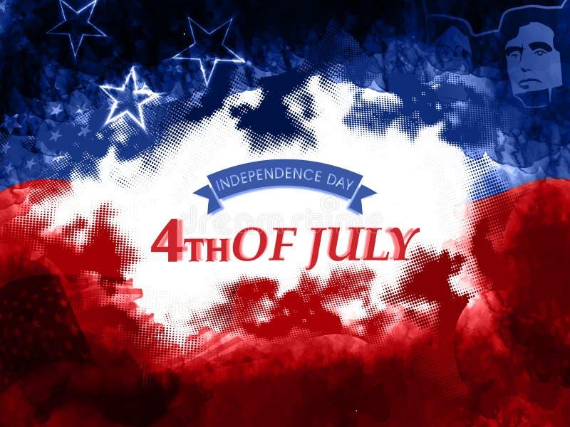 Cartel o bandera para el Día de la Independencia americano stock de ilustración
