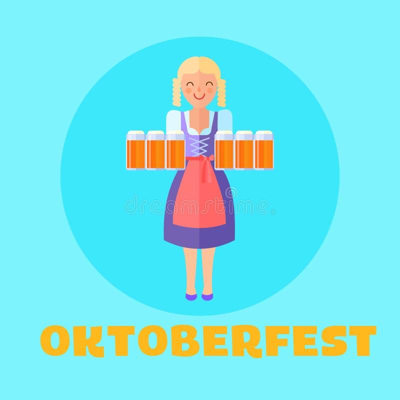 Cartel o coches del festival de Oktoberfest ilustración del vector