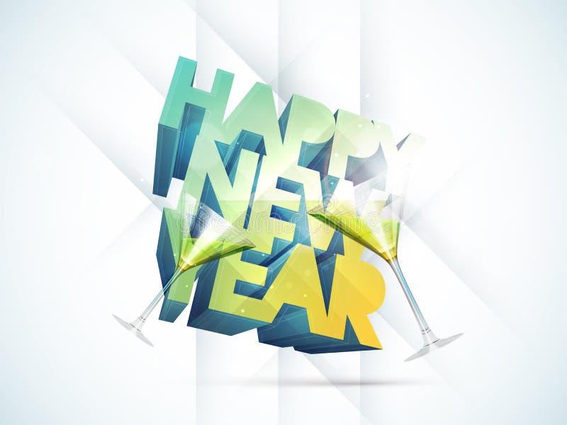 Cartel o diseño de la tarjeta de felicitación para las celebraciones de la Feliz Año Nuevo libre illustration