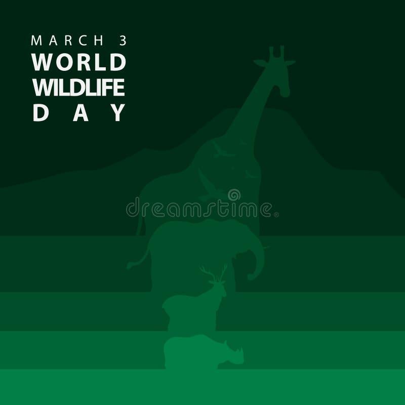Cartel o fondo del día de la fauna del mundo de la silueta de los animales stock de ilustración