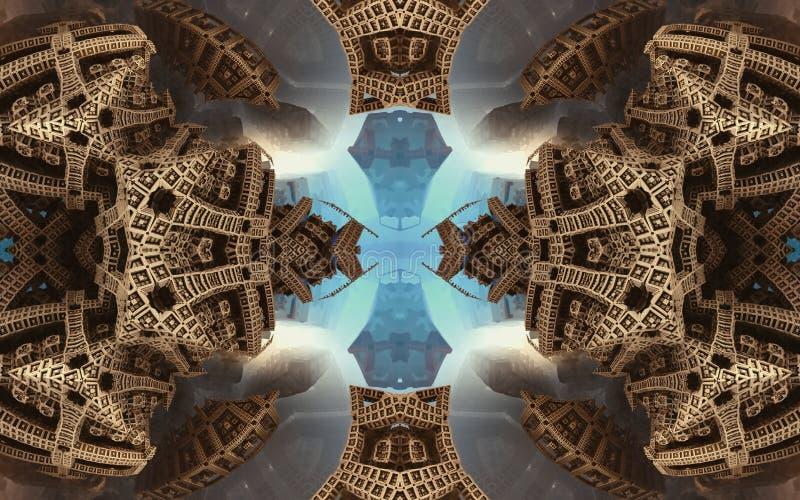 Cartel o fondo fantástico abstracto épico Vista futurista desde adentro del fractal Modelo en la forma de flechas ilustración del vector