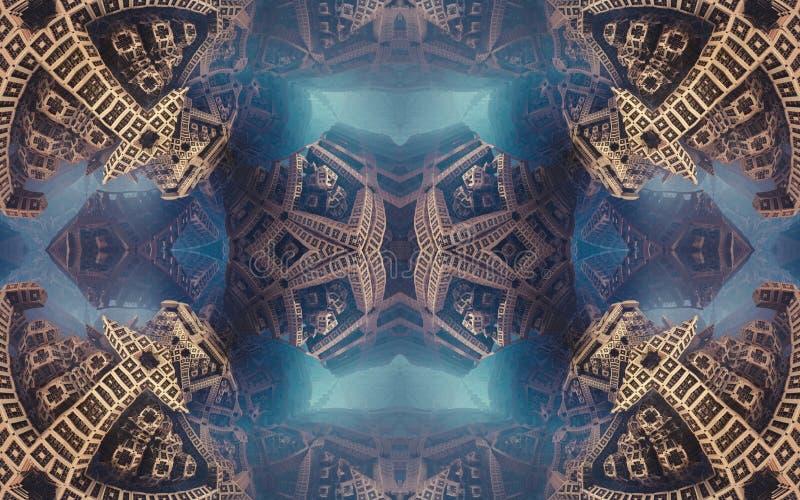 Cartel o fondo fantástico abstracto épico Vista futurista desde adentro del fractal Modelo en la forma de flechas fotografía de archivo