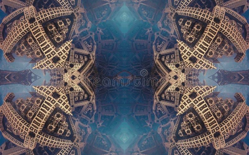 Cartel o fondo fantástico abstracto épico Vista futurista desde adentro del fractal Modelo en la forma de flechas imagen de archivo