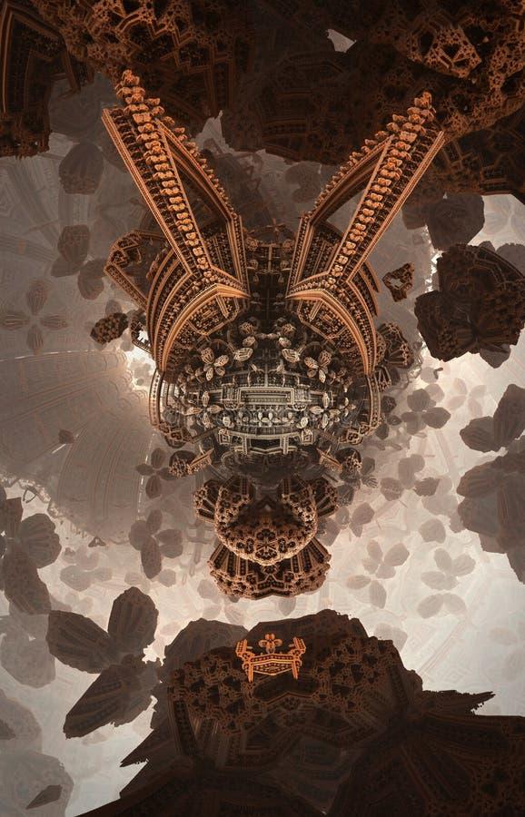 Cartel o fondo fantástico abstracto Vista futurista desde adentro del fractal Modelo arquitectónico stock de ilustración