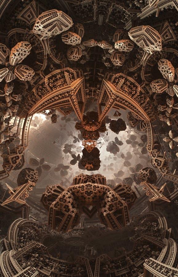 Cartel o fondo fantástico abstracto Vista futurista desde adentro del fractal Modelo arquitectónico libre illustration