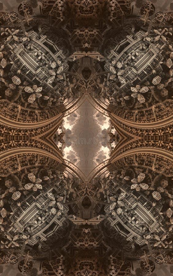 Cartel o fondo fantástico abstracto Vista futurista desde adentro del fractal Modelo arquitectónico 3d libre illustration